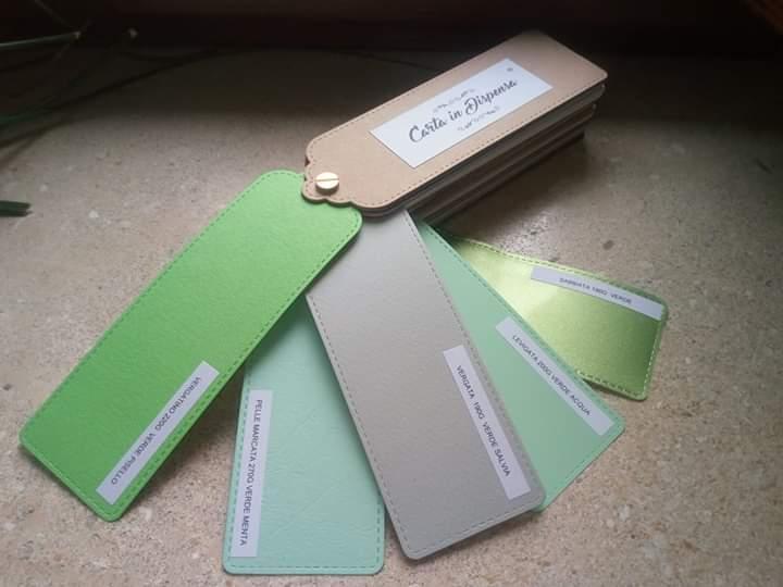 scelta della palette, alcuni tonalità di verde, carta in dispensa