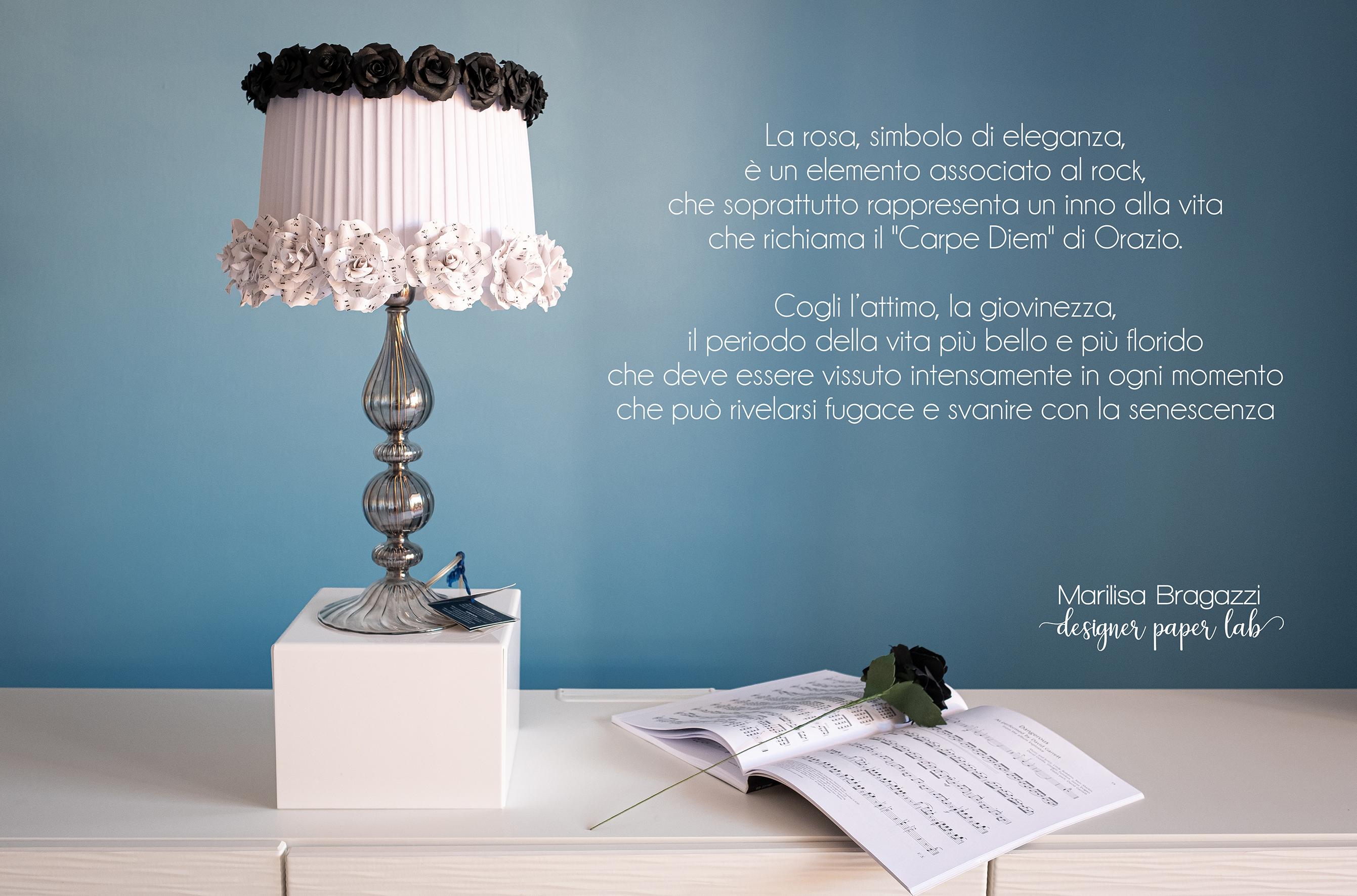 carta in dispensa, marilisa bragazzi, lampada con fiori di carta